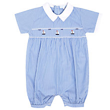 Buy Mini La Mode Baby Pima Cotton Solent Boats Romper, Blue Online at johnlewis.com