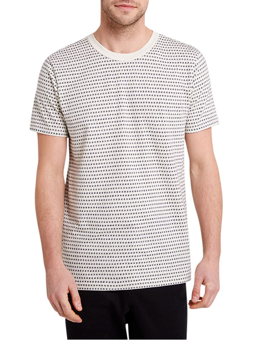 HYMN HYMN Tetromino Square Print T-Shirt, Navy/Ecru