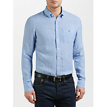 Buy Gant Chelsea Fine Stripe Oxford Shirt, Capri Blue Online at johnlewis.com