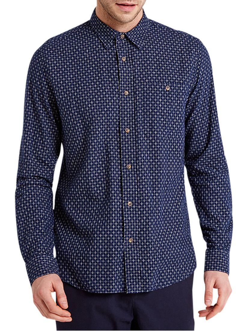 HYMN HYMN Target Cross Dobby Shirt, Indigo