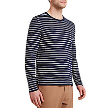 Buy HYMN Farwell Striped Long Sleeve T-Shirt, Navy/Ecru Online at johnlewis.com