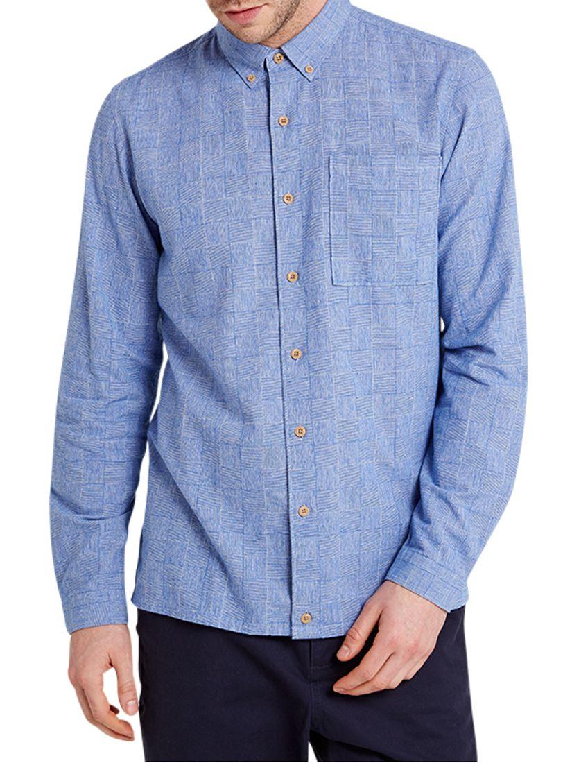 HYMN HYMN Graph Check Button Down Long Sleeve Shirt, Blue/White