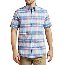 Buy Gant Madras Short Sleeve Plaid Cotton Shirt, Persian Blue Online at johnlewis.com