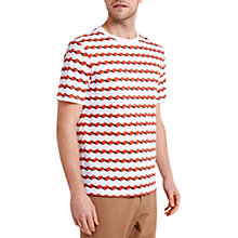 Buy HYMN Jones-2 Geo Wave Print T-Shirt, White/Orange Online at johnlewis.com