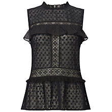 Buy Miss Selfridge Embroidered Peplum Hem Top, Black Online at johnlewis.com
