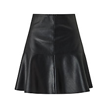 Buy Miss Selfridge Peplum Faux Leather Skirt, Black Online at johnlewis.com