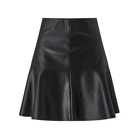 buy miss selfridge peplum faux leather skirt black
