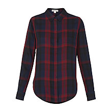 Buy Whistles Emelia Check Shirt, Burgundy Online at johnlewis.com