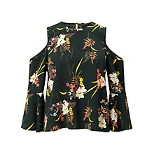 Buy Miss Selfridge Fern Print Cold Shoulder Top, Green Online at johnlewis.com