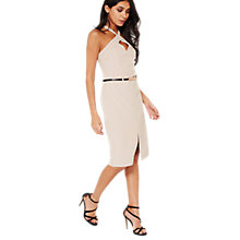 Buy Miss Selfridge 90s Neck Pencil Dress, Mink Online at johnlewis.com