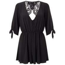 Buy Miss Selfridge Petite Lace Back Playsuit, Black Online at johnlewis.com