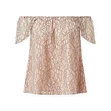 Buy Miss Selfridge Lace Bardot Top, Nude Online at johnlewis.com