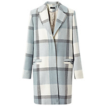 Buy Miss Selfridge Check Slouchy Coat, Pale Blue Online at johnlewis.com