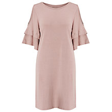 Buy Miss Selfridge Cold Shoulder Jersey Ruffle Dress, Pink Online at johnlewis.com