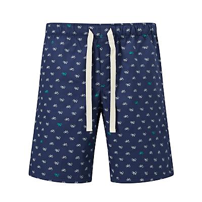 John Lewis Bicycle Print Lounge Shorts, Blue