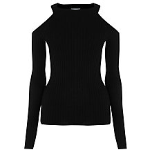 Buy Warehouse Ribbed Cold Shoulder Jumper, Black Online at johnlewis.com