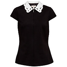 Buy Ted Baker Quilina Embroidered Collar Zip Top, Black Online at johnlewis.com