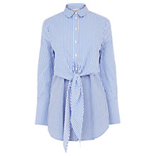 Buy Warehouse Stripe Tie Front Shirt, Blue Stripe Online at johnlewis.com