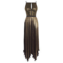Buy Karen Millen Metallic Pleat Dress, Bronze Online at johnlewis.com
