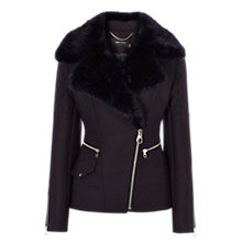 Buy Karen Millen Midnight Wool Biker Jacket, Navy Online at johnlewis.com