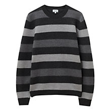 Buy Jigsaw Boiled Merino Stripe Jumper, Grey Online at johnlewis.com