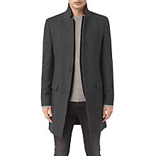 Buy AllSaints Falun Wool-Blend Overcoat, Charcoal Grey Online at johnlewis.com