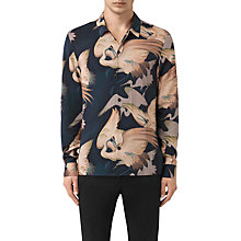 Buy AllSaints Wader Kimono Print Slim Fit Shirt, Dark Ink Online at johnlewis.com