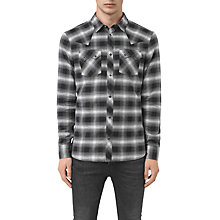 Buy AllSaints Powerville Long Sleeve Shirt, Black/Grey Check Online at johnlewis.com