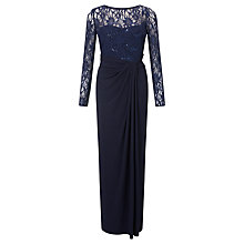 Buy Lauren Ralph Lauren Long Sleeve Lace Maxi Dress, Lighthouse Navy Online at johnlewis.com