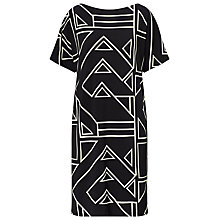 Buy Lauren Ralph Lauren Geometric Print Jersey Dress, Black/White Online at johnlewis.com