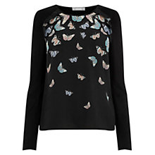 Buy Oasis Princes Butterfly Blouse, Black Online at johnlewis.com