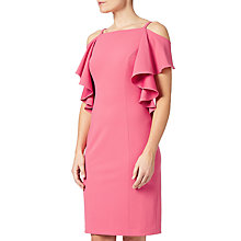 Buy Adrianna Papell Crepe Flutter Cold Shoulder Sheath Dress, Desert Rose Online at johnlewis.com