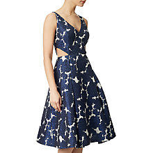 Buy Adrianna Papell Floral Jacquard V-Neck Dress, Navy/Ivory Online at johnlewis.com