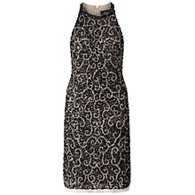 Buy Adrianna Papell Halter Beaded Shift Dress, Silver Online at johnlewis.com