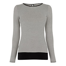 Buy Oasis Stripe Envelope Long Sleeve T-Shirt, Black Online at johnlewis.com