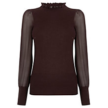 Buy Oasis Frill Neck Sheer Sleeve Knit Top Online at johnlewis.com