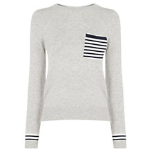 Buy Oasis Stripe Pocket Jumper, Mid Grey Online at johnlewis.com
