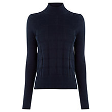 Buy Oasis Navy Check Funnel Neck Jumper, Navy Online at johnlewis.com
