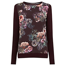 Buy Oasis Gothic Bloom Jumper, Burgundy Online at johnlewis.com