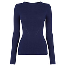 Buy Oasis Long-sleeved Rib Top, Mid Blue Online at johnlewis.com