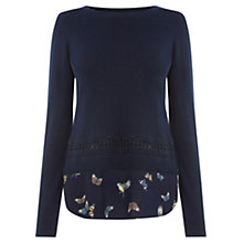 Buy Oasis Enchanted Bird and Lace Top, Navy Online at johnlewis.com