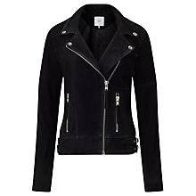 Buy Minimum Karitas Suede Leather Jacket, Black Online at johnlewis.com
