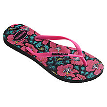 Buy Havaianas Slim Floral Flip Flops, Black/Pink Online at johnlewis.com