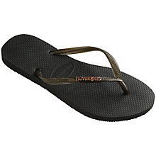 Buy Havaianas Slim Logo Flip Flops, Black/Gold Online at johnlewis.com