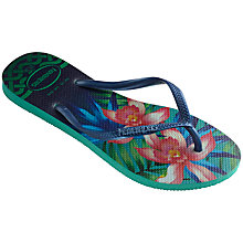 Buy Havaianas Tropical Print Flip Flops, Green Online at johnlewis.com