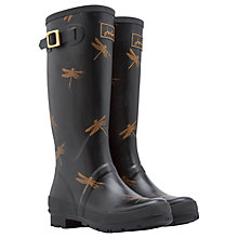 Buy Joules Tall Dragonfly Rubber Wellington Boots, Black Online at johnlewis.com
