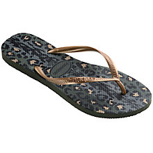 Buy Havaianas Slim Animal Print Flip Flops, Green Online at johnlewis.com