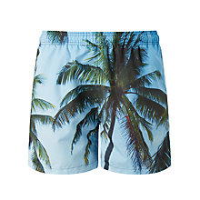 Buy Gant Palm Beach Print Swim Shorts, Topaz Blue Online at johnlewis.com