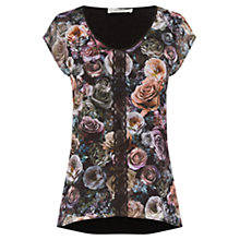 Buy Oasis Graceful Chiffon Lace Trim T-Shirt, Black Online at johnlewis.com