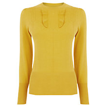 Buy Oasis Frill Detail Pointelle Top, Ochre Online at johnlewis.com